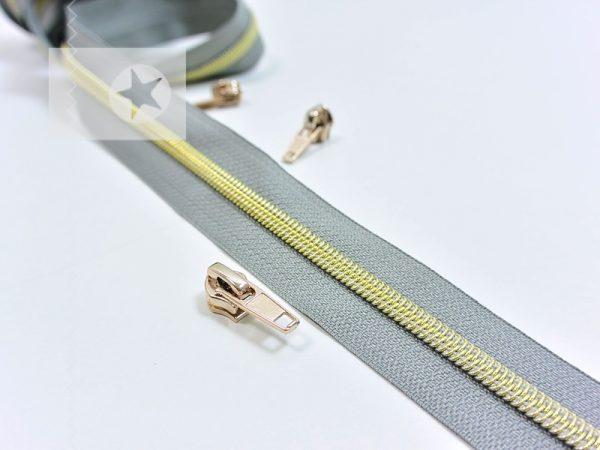 Endlos Reißverschluss metallisiert grau gold