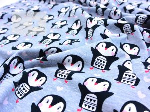 Jersey Stoff Pinguine grau meliert