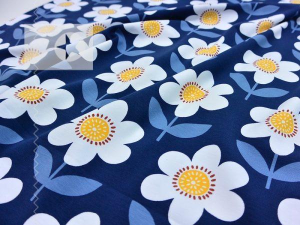 Jersey Stoff Floris retro Blumen jeansblau