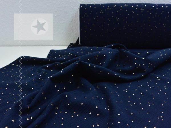 Musselin golden dots navy