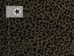 Jersey Stoff Leo Muster khaki