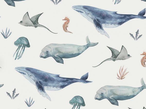 Jersey Stoff Deep Sea Life cremeweiß
