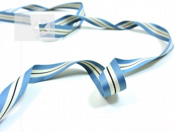 Weiches Ripsband mit Streifen graublau offwhite