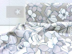 Fester Hosenstoff leicht elastisch Blumen taupe