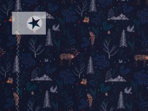 Sweatstoff Jette Waldtiere dunkelblau