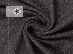 Bündchen Glitzer dunkelgrau silber