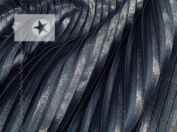 Plissee Stoff dunkelblau silber