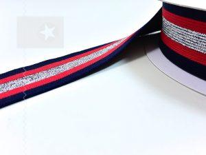 Gummiband 40 mm Streifen dunkelblau rot silber
