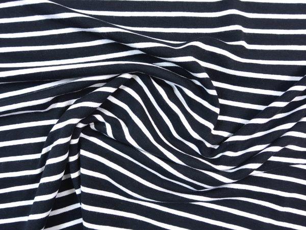 Leichter Jersey Stoff schwarz weiß gestreift