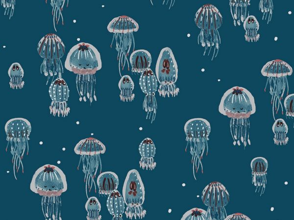 Cotton + Steel Baumwoll Webware Kaikoura Drifting Jellies ocean