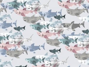Cotton + Steel Baumwoll Webware Kaikoura Shark frenzy