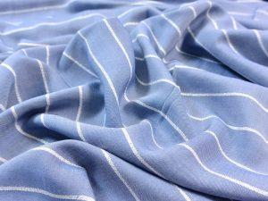 Viskose Glitzer Streifen jeansblau silber