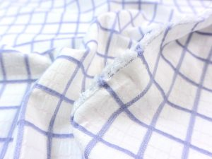 Baumwoll Viskose Jacquard blue Squares