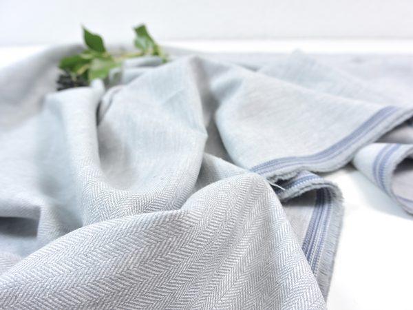 Leinen Baumwolle Fischgrat light grey