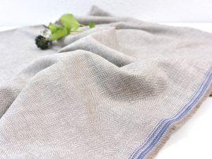 Leinen Baumwolle Fischgrat sand