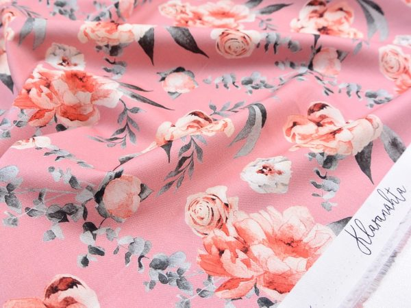 Baumwoll Webware   Big Roses blush