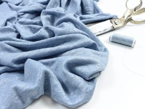 Leichter Leinen Strick | silber blau