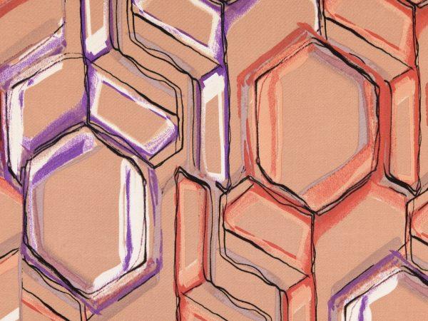 Viskose Satin | Big Hexagon camel
