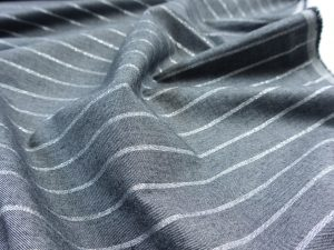 Baumwoll Popeline | Silver Stripes dark grey