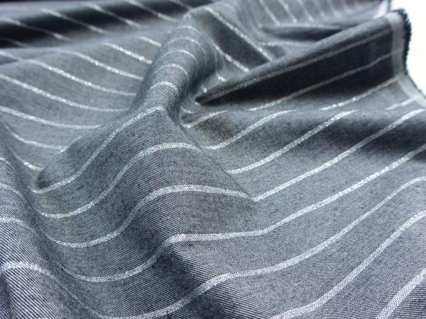 Baumwoll Popeline   Silver Stripes dark grey