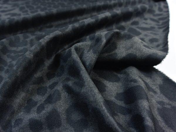 Punto di Roma Velvet Stretch Jersey | Black Leopard