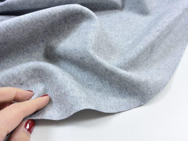 Italienischer Mantelstoff   Wolle und Kaschmir   grau meliert