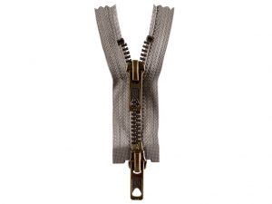 OPTI 80 cm Jacken- Reißverschluss Metall altgold | hellgrau