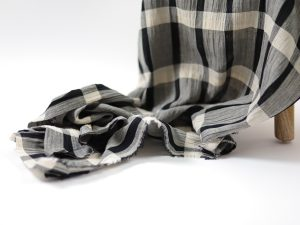 Baumwoll Leinen Crinkle Mix | schwarz und natur