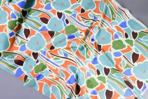 Ruby Cotton Stretch Satin | greens and orange