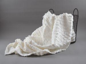 Summer Cotton Jacquard | Fringe Stripes weiß