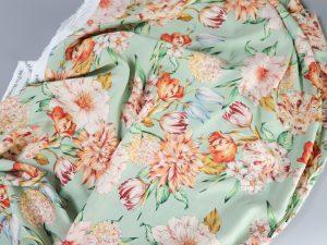 Be blessed | Viskose mit Sommerblumen soft mint