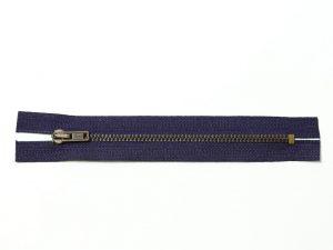 OPTI 14 cm Hosen Reißverschluss Metall Antik gold | dunkelblau