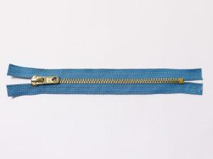 OPTI 16 cm Hosen Reißverschluss Metall gold | helles Jeansblau