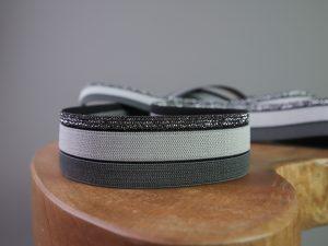 Gummiband 30 mm Streifen dunkelgrau hellgrau silber
