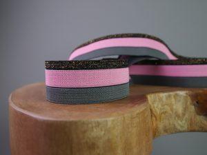 Gummiband 30 mm Streifen dunkelgrau rosa gold