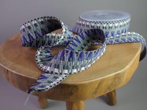 Gurtband Zickzack 38 mm | blau-grau