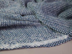 Super Soft Cotton Jacquard Knit   petrol & white