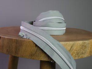Endlos Reißverschluss metallisiert grau silber