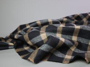Mantelstoff mit Wolle Check | black & camel