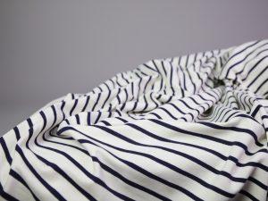 French Terry Stripes   cream & navy