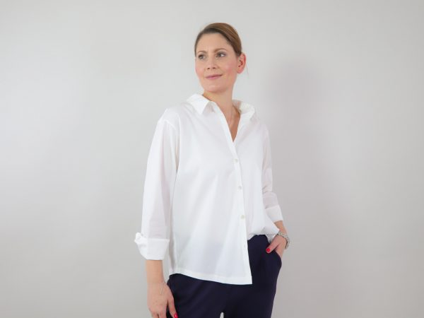 DIY Kit Bea Stretch Poplin Hemdbluse weiß   Timeless Chic Originals Collection