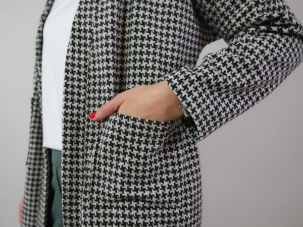 DIY Kit Milla long Houndstooth black and white   Timeless Chic Originals Collection