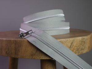 Reißverschluss Meterware light grey silber | ohne Schieber